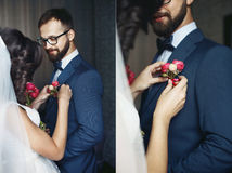 Collage of beautiful brunette bride pinning a boutonniere on hap. Py groom royalty free stock image