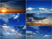 Collage of beautiful clouds. Collage of beautiful clouds on a sunset stock photo