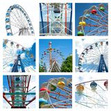 Collage of beautiful different ferris wheels in motion at amusement parks Stock Image