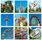 Collage of beautiful different rides in motion at amusement park Stock Photo