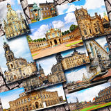 Collage of beautiful Dresden. Germany. Stock Photos
