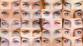 Collage of beautiful female eyes Royalty Free Stock Photography