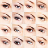 Collage of beautiful female eyes with makeup Stock Photo