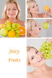 Collage.beautiful Frau mit vielen frischen Früchten Lizenzfreies Stockfoto