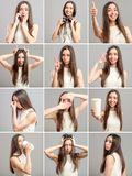 Collage of beautiful girl with different expressions Royalty Free Stock Photos