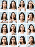 Collage of beautiful girl with different facial expressions Stock Images