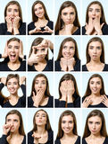 Collage of beautiful girl with different facial expressions Royalty Free Stock Images
