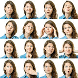 Collage of beautiful girl with different facial expressions Royalty Free Stock Photography
