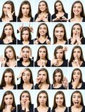 Collage of beautiful girl with different facial expressions Royalty Free Stock Image