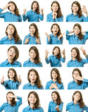 Collage of beautiful girl with different facial expressions Royalty Free Stock Photos
