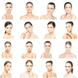 Collage of beautiful, healthy and young spa female portraits. Faces of different women. Face lifting, skincare, plastic Stock Photos