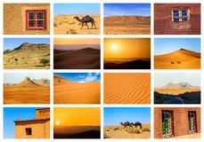 Collage of beautiful landscapes of the Moroccan desert. Adventure concept stock images