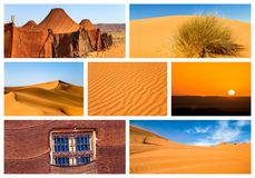 Collage of beautiful landscapes of the Moroccan desert. Adventure concept royalty free stock image