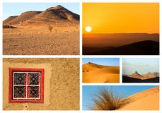 Collage of beautiful landscapes of the Moroccan desert. Adventure concept royalty free stock photography