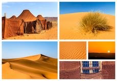 Collage of beautiful landscapes of the Moroccan desert. Adventure concept stock image
