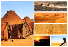 Collage of beautiful landscapes of the Moroccan desert. Adventure concept royalty free stock images