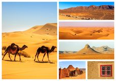 Collage of beautiful landscapes of the Moroccan desert. Adventure concept royalty free stock photo