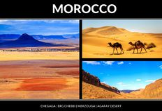 Collage of beautiful landscapes of the Moroccan desert. Postcard concept stock images