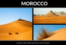 Collage of beautiful landscapes of the Moroccan desert. Postcard concept stock photography