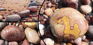 Collage of beautiful patterned pebble stones Stock Photos