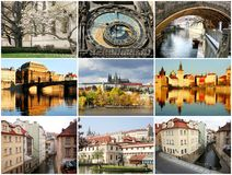 Collage beautiful Prague Royalty Free Stock Images