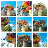Collage of beautiful retro swing carousel in motion Royalty Free Stock Photo