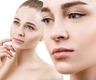 Collage of beautiful sensual woman with perfect clean skin on face. royalty free stock images