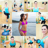 Collage of beautiful sporty woman in gym and on the beach Royalty Free Stock Photo