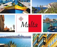 Collage of beautiful sights from Malta and Gozo. Collage of beautiful vacation sights from Malta and Gozo with the Maltesian flag in the centre Stock Image