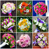 Collage of beautiful wedding flowers Stock Images