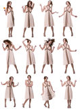 Collage: beautiful woman dancing on white Stock Photos