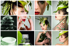 Collage with beautiful woman Royalty Free Stock Images