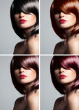 Collage of a beautiful woman with mixed color hair Royalty Free Stock Images