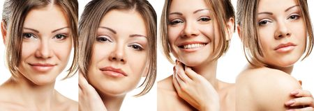 Collage of beautiful woman with perfect clean skin Royalty Free Stock Image