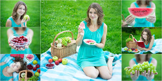 Collage of beautiful woman with picnic basket and fruits in summ Stock Photo