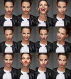 Collage of beautiful woman`s faces Royalty Free Stock Images