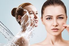 Collage of beautiful women in splashes of water. Cleansing and moisturizing concept Stock Photos