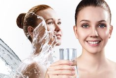 Collage of beautiful women in splashes of water. Cleansing and moisturizing concept Royalty Free Stock Images