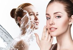 Collage of beautiful women in splashes of water. Cleansing and moisturizing concept Royalty Free Stock Photos