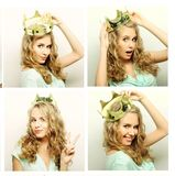 Collage of beautiful young woman with crown Stock Photography