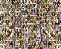 Collage of beautiful young women between eighteen and thirty yea Stock Images