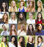 Collage of beautiful young women between eighteen and thirty yea royalty free stock photos