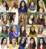 Collage of beautiful young women between eighteen and thirty yea Stock Photo