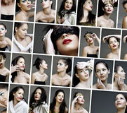 Collage of beauty fashion make-up faces Stock Photo