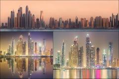Collage of the beauty panorama at Dubai marina. Stock Photography