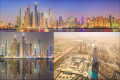 Collage of the beauty panorama at Dubai marina. Royalty Free Stock Images