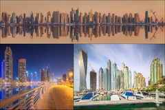 Collage of the beauty panorama at Dubai marina. Royalty Free Stock Photography