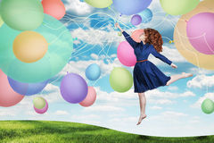 Collage. Beauty Young Woman On The Sky, With Balls Royalty Free Stock Images
