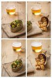 Collage Beer cap and olives pork rinds Stock Photography