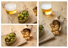 Collage Beer cap and olives pork rinds Stock Images